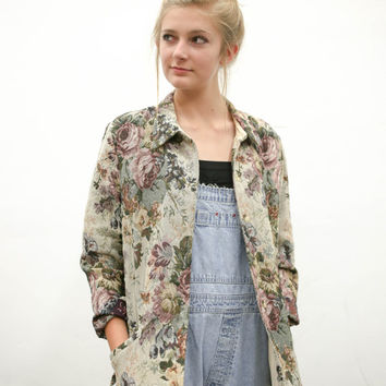 vtg 90s floral jacket, 1990s flower denim blazer, casual coat outerwear, vintage tumblr, urban outfitters, soft grunge, vaporwave fashion