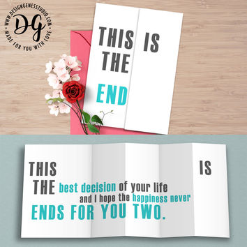 """Funny card for groom """"this is the end"""" sarcastic wedding card"""