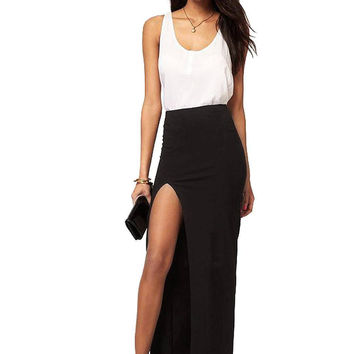 Black Maxi Skirt with Thigh Split