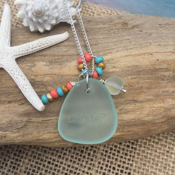 Engraved love sea glass necklace ~Coke bottle Beach glass  ~Key West Ocean inspired necklace ~ Freeform Seaglass jewelry ~ bohemian style