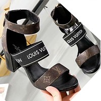 Louis Vuitton LV Summer New Popular Women Princess High Heels High-Heeled Shoes Sandals LV Print I-ALS-XZ
