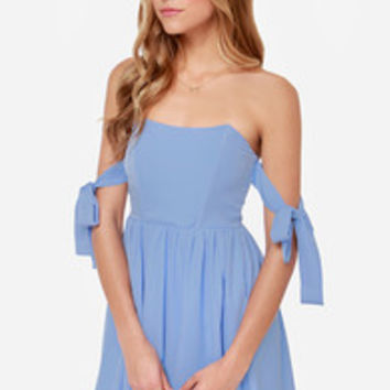 Make a Wish Off-the-Shoulder Periwinkle Dress