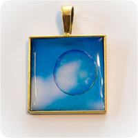 Floating bubble in blue sky Photo Pendant by HConwayPhotography