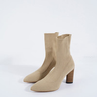 Knitted Pointed High-Heel Boots