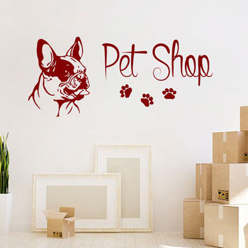 Dog Wall Decals Pet Shop Vinyl Stikers Paw Prints Pitbull Decal Grooming Salon Art Mural Home Design Interior Living Room Animals Decor KY47