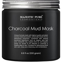 Activated Charcoal Mud Mask 10 fl oz - Facial Mask For Deep Cleansing & Exfoliation - Best for Shrinking Pores, Fight Acne, Blackheads & Oily Skin - 5X Safer than Peel-Off Masks - Brooklyn Botany