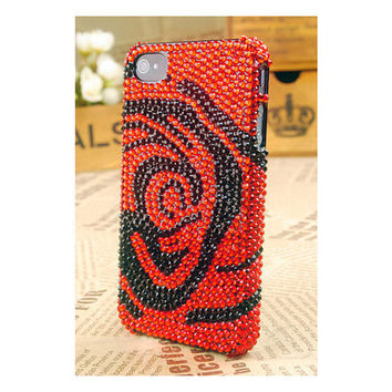 iPhone4S4G3G Red Rose Flower Crystal Best Case by bestphonecases
