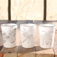 Insect Stamped Glass Tealight Cups
