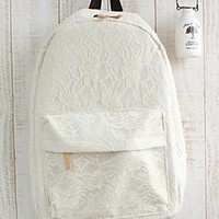 Fashion Floral Crochet Lace Spliced Backpack