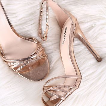 Qupid Metallic Studded Strappy Open Toe Ankle Strap Heel