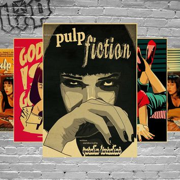 Pulp Fiction Classic Movie Poster Retro Kraft Bar Cafe Decorative Posters Vintage Wall Stickers