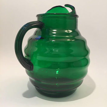 Green Glass Pitcher | Anchor Hocking Whirly Twirly Pitcher, Forest Green Ribbed Glass Pitcher