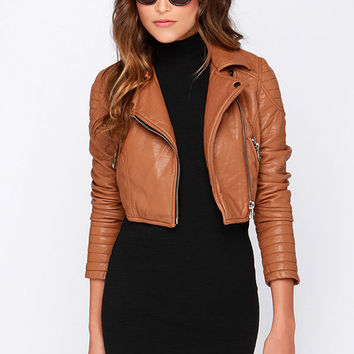 Glamorous Talk It Up Tan Vegan Leather Moto Jacket