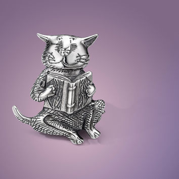 Cat Reading A Book Sterling Silver