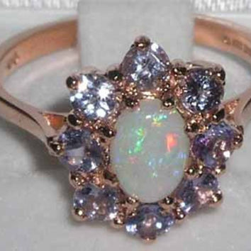 Genuine Opal & Tanzanite 9K Solid English Rose Gold Cluster Flower Engagement Ring -Made in England-Customize:9K,14K,18K,Yellow,Rose,White