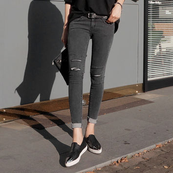 New Arrival Fashion Korean Style Women slim Skinny Denim Pencil Pants Vintage ripped hole Jeans Femme Casual Boyfriend Jeans N52