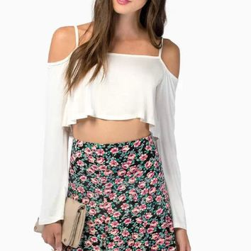Cutout Shoulder Strap Long Sleeve Crop Tank Top