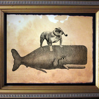 English Bulldog Riding Whale - Vintage Collage Art Print on Tea Stained Paper - Vintage Art Print - Vintage Paper