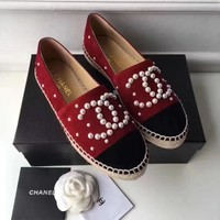 Chanel Fashion Espadrilles For Women Shoes Red G-TFDXY-XNEDX
