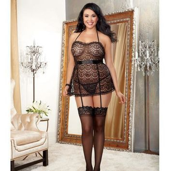 Scalloped Pattern Lace Halter Apron Babydoll W-attached Garter Straps & Panty Black Qn