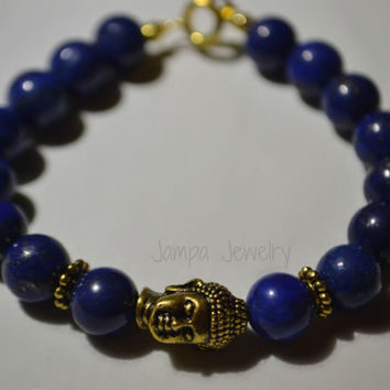 Genuine Lapis Lazuli with Gold Buddha Bracelet