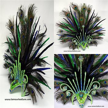 Neon Peacock Feather Samba Headdress Dance Costume Rave Halloween Burlesque Show Girl