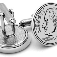 USD Dime Back Cufflinks