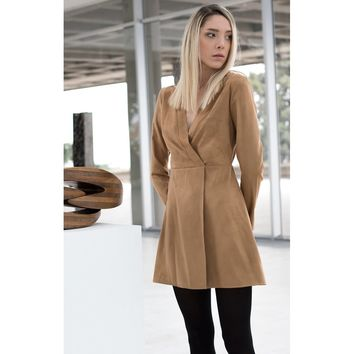 Suede brown shirt dress - Bastet Noir