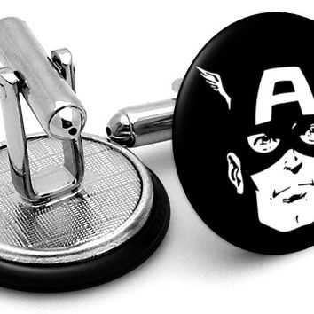 Captain America Black White Cufflinks