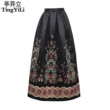 TingYiLi Ethnic Style Vintage Floral Print Skirt Summer Long Skirts Womens Black Skirt Pleated Maxi Skirt Long 2017