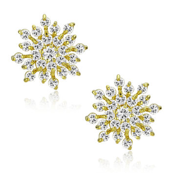 Snowflake W. Clear Round Cubic Zirconia Stud Earrings (Gold Tone Finish)