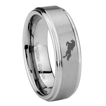 8MM Horse Step Edges Silver Tungsten Carbide Laser Engraved Ring