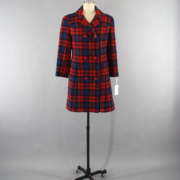 Vintage 1960s Pendleton Wool Coat / 60s Plaid Coat / Red & Blue Tartan / Size Small S 4