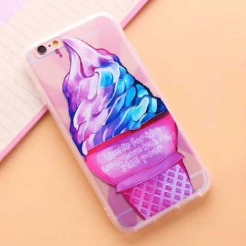 "Iridescent Soft Serve Ice Cream Cone Case for iPhone 6 6S 4.7"" 6s Plus 5.5 "" Fun"