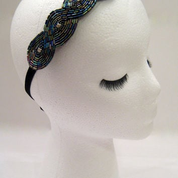 The Audrey - multicolor Gatsby hairpiece, Downton Abbey style hairpiece, flapper costume, Boardwalk Empire style, rhinestone headband