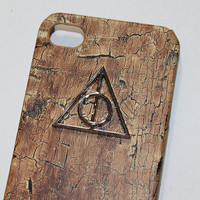 Harry Potter Deathly Hallows wood PU leather case for IPhone 4/4S case