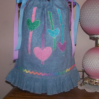 Grow with Me Handmade Pillowcase Dress or Top..   Apppliqued Hearts and Rick Rack,, Ruffled Bottom. Size  8 months up to 4T..