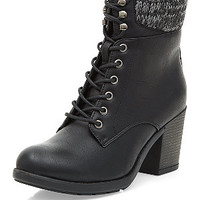 Black Knitted Cuff Lace Up Block Heel Boots