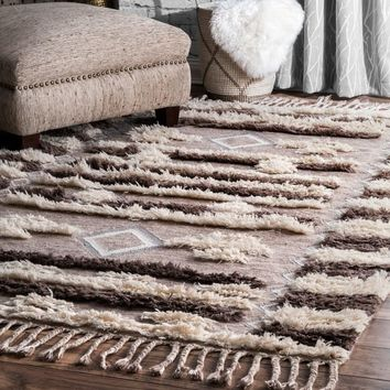 """nuLOOM Southwestern Hand Tufted Wool Brown Shag Tassel Rug (7' 6"""" x 9' 6"""") 