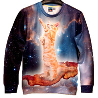 Kitty Cat Riding on Bacon in Space All Over Print Unisex Pullover Sweatshirt Sweater | Gifts for Cat Lovers