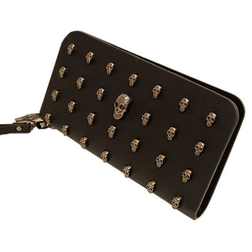 Black Skull Rivet Patchwork Leather Long Wallet