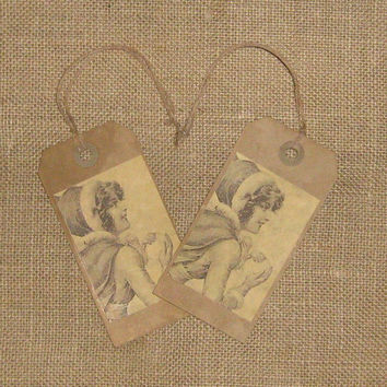 Christmas Gift Tags, Set of 6, Victorian Girl Tags, Girl Making Snowball, Shipping Tags