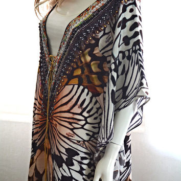 B/W butterfly kaftan dress, kaftan, caftan, maxi dress, beach dress, kaftan maxi dress