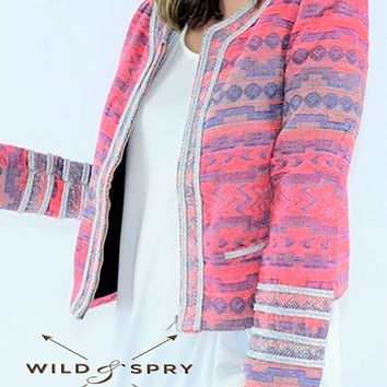 Beautiful feminine pink soft cotton jacket with Aztec design