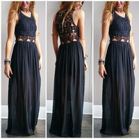 A Crochet Goddess Maxi- Black