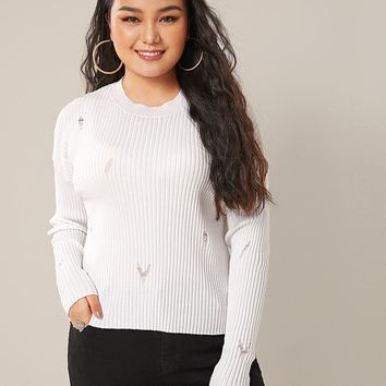Plus Drop Shoulder Ripped Sweater