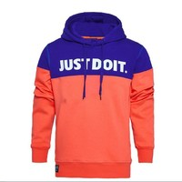 Men 's sweater men' s sweater men 's casual sweater outdoor sports hooded Slim sweater Orange