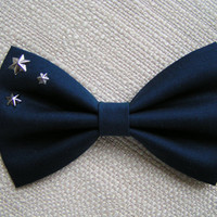 Hair Bow-navy blue and stars, Big hair bow, Hair clips, Hair bows for women kids and teens