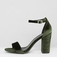 New Look Velvet Barely There Heeled Sandal at asos.com