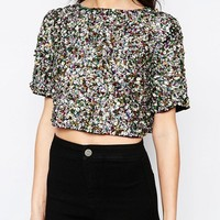 Glamorous Sequin Crop T-Shirt at asos.com